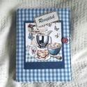 Kék kockás receptgyűjtő gyűrűs mappa (füzet) A5, Konyhafelszerelés, Receptfüzet, Könyvkötés, Varrás, A5-ös gyűrűs mappa könyvkötő technikával bekötve. Irattartó fólia használatával a kinyomtatott rece..., Meska