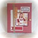 Piros kockás,retró receptgyűjtő gyűrűs mappa  (füzet) A4, Konyhafelszerelés, Receptfüzet, Könyvkötés, Varrás, A4-es gyűrűs mappa könyvkötő technikával bekötve. Irattartó fólia használatával a kinyomtatott rece..., Meska