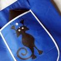 Mászó cicás kék bevásárló táska, Táska, Szatyor, Festett tárgyak, Egy nagyon praktikus, nagy zsebbel rendelkező, kicsire összehajtható nagy teherbírású táskára, minő..., Meska