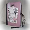 Madártollas, romantikus napló, jegyzetfüzet,emlékkönyv, Naptár, képeslap, album, Jegyzetfüzet, napló, A5 méretű vonalas füzet textillel, könyvkötő technikával bekötve. A textil borítás alatt 0..., Meska