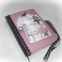 Romantikus napló, jegyzetfüzet,emlékkönyv, Naptár, képeslap, album, Jegyzetfüzet, napló, A5 méretű vonalas füzet textillel, könyvkötő technikával bekötve. A textil borítás alatt 0..., Meska