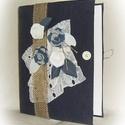 Farmer, virágos gyűrűs mappa  (füzet,napló) A4, Naptár, képeslap, album, Jegyzetfüzet, napló, Könyvkötés, Varrás, Saját készítésű A4-es gyűrűs mappa könyvkötő technikával kívül-belül bekötve, egyedi tervezésű mint..., Meska
