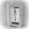Textil borítású, rusztikus, csipkés receptgyűjtő gyűrűs mappa  (füzet) A4