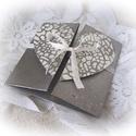Pénzátadó dobozka, boríték, szívvel és csipkemintával, szalaggal összeköthető, Esküvő, Naptár, képeslap, album, Szerelmeseknek, Képeslap, levélpapír, Csipkés szívvel díszített pénzátadó boríték, dobozka, szalaggal összekötve. Egyedi, fémhatású festék..., Meska