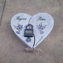 Esküvő, szerelemlakat,lakatceremónia,ezüstszürke szív alakú doboz,  nászajándék, évforduló, szerelem, pénzátadó, Esküvő, Szerelmeseknek, Nászajándék, Festett tárgyak, Ha igazán maradandót szeretnél ajándékozni esküvőre, évfordulóra vagy csak úgy szerelemből válaszd ..., Meska