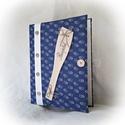 Kékfestő,textil borítású,gombos,fakanál,receptgyűjtő gyűrűs mappa  (füzet) A4, Konyhafelszerelés, Receptfüzet, Könyvkötés, A4-es gyűrűs mappa könyvkötő technikával kívül-belül bekötve. Irattartó fólia használatával a kinyo..., Meska