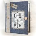 Textil borítású, farmer hatású, receptgyűjtő gyűrűs mappa ,füzet, A4 (II.), Konyhafelszerelés, Receptfüzet, Könyvkötés, Varrás, A4-es gyűrűs mappa könyvkötő technikával kívül-belül bekötve. Irattartó fólia használatával a kinyo..., Meska