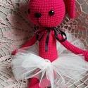 Horgolt rózsaszínű tüllszoknyás nyuszi!, Kevert szálas fonalból készült édes pink nyus...