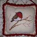 Gyönyörű keresztszemes madaras párna!, Dekoráció, Dísz, Keresztszemes párna dekoráció, függeszthető ajtóra, szekrényre... 12x11 cm., Meska