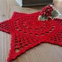 Horgolt karácsonyi csillag, Magas minőségű piros fonalból készült karác...