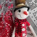 Horgolt csodaszép karácsonyi hóember!, Magas minőségű, piros, fehér, fekete fonalból...