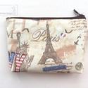 Párizs, Eiffel torony világjáró pénztárca, irattartó -  London, Róma, NewYork, Táska, Neszesszer, Pénztárca, tok, tárca, Pénztárca, Varrás, Pamut textilből varrtam ezt a világjáró pénztárcát. Belseje pamut textil, közötte vatelin ad tartás..., Meska