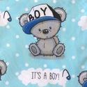 Kisfiú! It's a Boy!  Rongyi, alvókendő, kél macis , Baba-mama-gyerek, Gyereknap, Játék, Plüssállat, rongyjáték, Kisfiú! Vilagoskék macis pamut textilből készült ez a rongyi, pici babák számára. Az eleje designer ..., Meska