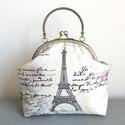 Párizs, Eiffel torony mintás táska, kézitáska, pasztell színben - Bonjour Paris, Táska, Esküvő, Válltáska, oldaltáska, Neszesszer, Párizs hangulatú, pasztell színű pamut textilből készült ez az Eiffel tornyos mintás, kézi táska. Be..., Meska