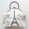 Párizs, Eiffel torony mintás táska, kézitáska, pasztell színben - Bonjour Paris, Párizs hangulatú, pasztell színű pamut textilb...