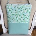 AKCIÓ -Türkizkék fehér virágos táska, CITY BAG nagy méretben, bőr pánttal, Stílusos, egyedi táskát készítettem, nagy mé...