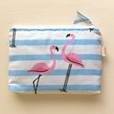 Rózsaszín flamingó mintás neszesszer, irattartó  , Táska, Pénztárca, tok, tárca, Neszesszer, Szemüvegtartó, Pasztell, rózsaszín flamingós neszesszert készítettem, prémium minőségű pamut textilből. Bélése hozz..., Meska