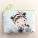 Katicás kislány, pöttyös kendőben -  irattartó pénztárca,  - katica, Pamut textil felhasználásával készült ez a ka...