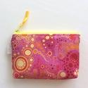 Piros, pink és sárga buborékos, irattartó pénztárca, neszesszer, kozmetikai táska , Piros, sárga buborékos prémium textilből kész...