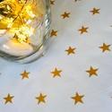 KÉSZLETKISÖPRÉS! - Arany, csillag mintás, fehér asztalterítő, futó, Otthon, lakberendezés, Asztaldísz, Lakástextil, Terítő, Prémium pamut textilből készült ez a hófehér, arany csillagokkal díszített, asztalközép, futó, terít..., Meska