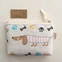 Tacskó mintás  irattartó pénztárca, natúr , Tacskó mintás, vastag pamut textil felhasználá...