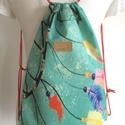 Tavaszi, türkiz mintás gymbag hátizsák erős lenvászonból