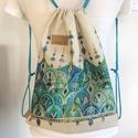Tavaszi türkiz mintás hátizsák erős lenvászonból - egyedi darab