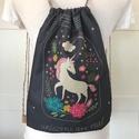 Unikornis szürkéskék hátizsák - Fesztivál backpack. gymbag, Táska, Baba-mama-gyerek, Hátizsák, Unikornis mintás, hátizsák készült vastag, kevert szálas, lenvászon textilből. Hátoldala szürke szín..., Meska