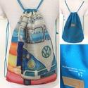 Volkswagen autó mintás, retró hátizsák - Fesztivál backpack. gymbag, Táska, Férfiaknak, Hátizsák, Volkswagen retro autó mintás, hátizsák készült vastag, kevert szálas, lenvászon textilből. Hátoldala..., Meska