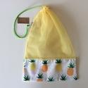 Nowaste bevásárló zacskó - ÖKO - Környezetbarát , NoWaste, Textilek, Bevásárló zsákok, zacskók , Pamut textilből és átlátszó textilből készült ez a stílusos ananász mintás ÖKO zsák. Ha mindig magad..., Meska