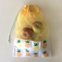 ÖKO bevásárló zacskó -  NoWaste - Környezetbarát, NoWaste, Otthon & lakás, Textilek, Bevásárló zsákok, zacskók , Pamut textilből és tül anyagból készült ez a stílusos ananász mintás ÖKO zsák. Ha mindig magaddal vi..., Meska