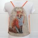 Rókás gymbag hátizsák - edzéshez, kirándulashoz - Artiroka design, Csodás, róka mintás hátizsák készült vastag...