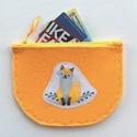 AKCIÓ - Narancssárga filcből készült  kis szütyő, iskolába egy mosolygó rókával - Artiroka design