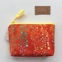 Korall piros türkiz - sárga buborékos,  batikolt irattartó pénztárca, neszesszer - Artiroka design, Prémium minőségű, batikolt textilből készül...