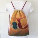 A kis herceg és a róka- mintás egyedi gymbag hátizsák - tornazsák edzéshez, úszáshoz - Artiroka design (1), Táska, Divat & Szépség, Gyerek & játék, NoWaste, Táska, Hátizsák, A kis herceg és a róka mintás, gymbag hátizsák készült, vastag, kevert szálas, lenvászon textil pane..., Meska