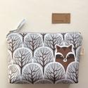Mosómedve és róka mintás irattartó pénztárca - Artiroka design - 404, Mosómedve és róka mintás pamut textilből kés...
