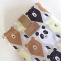 Könyvtok - könyv tartó - könyv védő tok - Panda mackó mintás, Pamut textilből készült ez a mackó mintás kö...