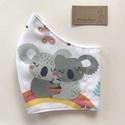 Színes koala mackó család mintás arcmaszk, szájmaszk, maszk -  Artiroka design, Többször használatos, mosható, környezetbará...