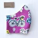 Bicikli mintás pink színű arcmaszk, szájmaszk, maszk - M méretben - Artiroka design leírása, Többször használatos, mosható, bicikli mintás...