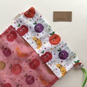 ÖKO bevásárló zacskó, gyümölcs mintás, piros színben - Artiroka design