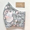 Prémium pamut textil, alvó kis róka, virág és madár mintás arcmaszk, szájmaszk, maszk - Artiroka design