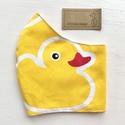 Sárga kacsa mintás  prémium arcmaszk, szájmaszk, maszk, gyerekmaszk  - Artiroka design, Többször használatos, mosható, kacsa  mintás,...