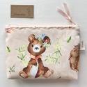 Barack színű macis és őzikés prémium irattartó pénztárca, neszesszer  -  Artiroka design
