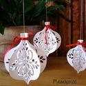 Karácsonyi papír függődísz, Dekoráció, Ünnepi dekoráció, Karácsonyi, adventi apróságok, Karácsonyfadísz, Papírművészet, Ezek a díszek azért készültek, hogy szerény szépségükkel hívják fel magukra a figyelmet. Egyszerűek..., Meska