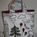 Színezhető kislány táska, fenyőfás, Fehér alapon kedves figurákkal megrajzolt, Ikás...