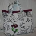 Színezhető kislány táska, virágos,  Fehér alapon kedves figurákkal megrajzolt, Iká...