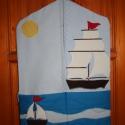 Óvodai zsák - hajó jellel, Pamut vászon anyagból készült óvodai zsák, h...
