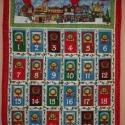 Adventi naptár - ajtós, piros szegéllyel,  Adventi naptár nyomott mintájú vászonból.  A...