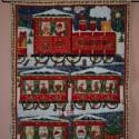Adventi naptár - vonatos,  Adventi naptár nyomott mintájú vászonból. A ...
