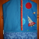 Óvodai zsák - űrhajó jellel, Pamut vászon anyagból készült óvodai zsák, b...